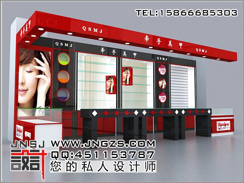 柜台效果图 美甲展柜 设计,制作,柜台,展柜,效果图,厂